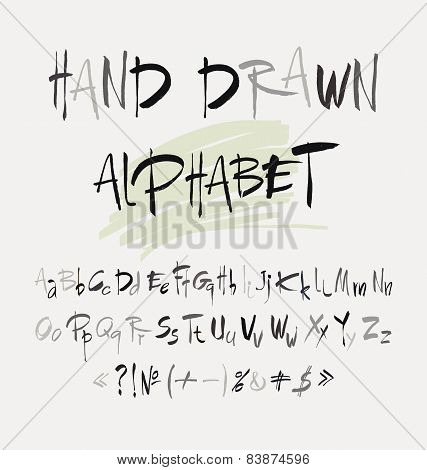 Hand Drawn Alphabet In Retro Style. Abc For Your Design. Letters Of The Alphabet Written With A Brus