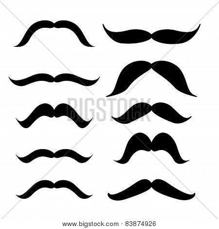 Set Of Mustache (mustache Collection), Retro Style, Vector Illustration