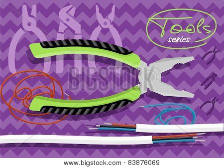 Metal pliers with tangled blue red electric cable
