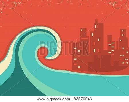 Tsunami And Big City In The Night.huge Wave Poster