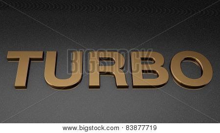 TURBO sign, label, badge, emblem or design element on car paint.