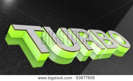 TURBO sign, label, badge, emblem or design element on car paint.