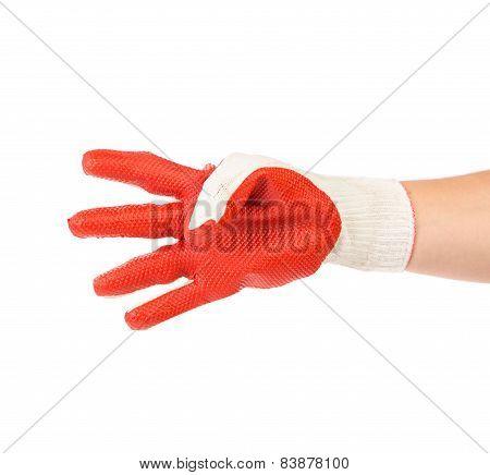 Four fingers in heavy-duty red glove.