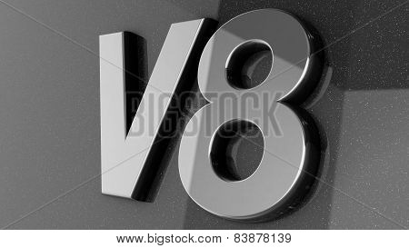 V8 sign, label, badge, emblem or design element, 3d render.