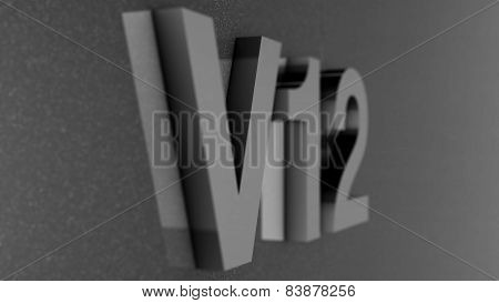 Turbo label located on car paint with reflections, its 3d render