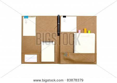 Brown Leather Folder With Note Paper Isolated