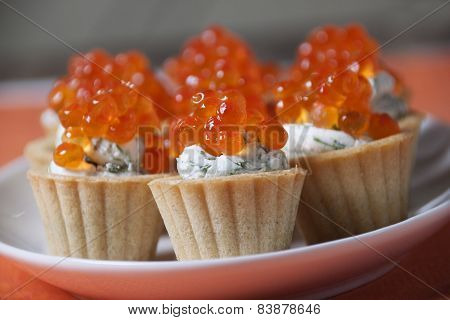 Caviar Red Fish  With  Cream In Small Tartlets.