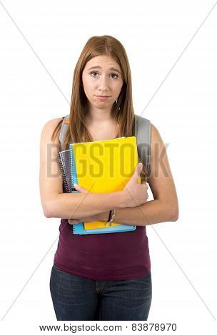 Young Beautiful College Student Girl Carrying Backpack And Books Posing Bored And Stress In Universi