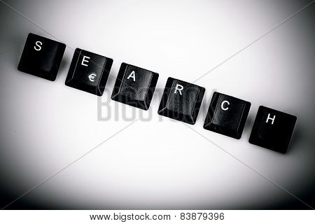 Text Search Formed With Computer Keyboard Keys On White Background