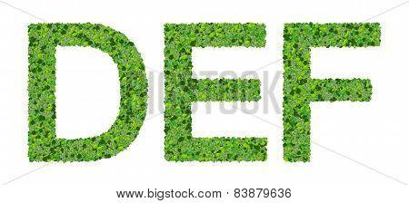 D E F alphabet letters made from green leaves isolated on white background.