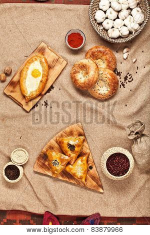 Georgian Or Uzbek Food Set With Khachapuri And Samsa