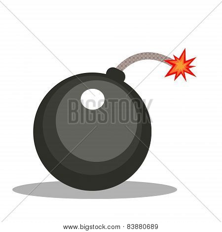 Isolated cartoon cannonball bomb