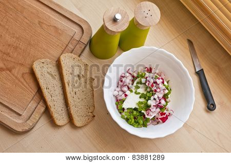Preparing Organic Breakfast. Cottage Cheese And Bread.
