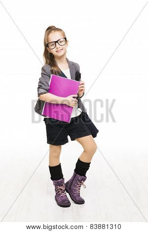 Schoolgirl Child In Glasses Holding Book. Student School Girl Isolated White Background