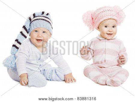 Baby Boy Girl Portrait, Little Kids In Woolen Hat, Happy Children In Crawlers Creepers Wearing