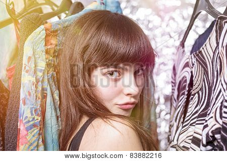 Perky Teenage Girl And Her Wardrobe, Toned Image, Bokeh, Light Leak
