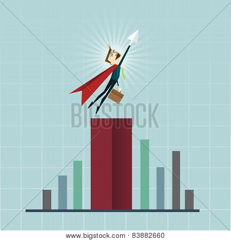 Cartoon Businessman Superhero