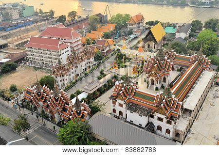 Aerial view of Buddhist Temple, Bangkok, Thailand