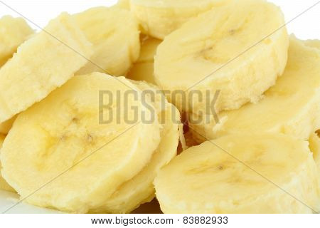 Macro Shot Of Slices Of Banana On White Background