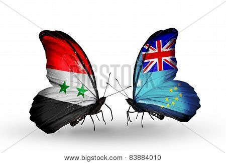 Two Butterflies With Flags On Wings As Symbol Of Relations Syria And Tuvalu