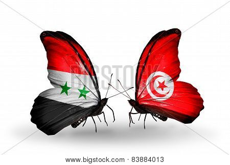 Two Butterflies With Flags On Wings As Symbol Of Relations Syria And Tunisia