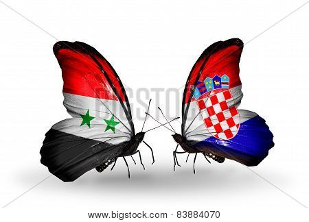 Two Butterflies With Flags On Wings As Symbol Of Relations Syria And Croatia