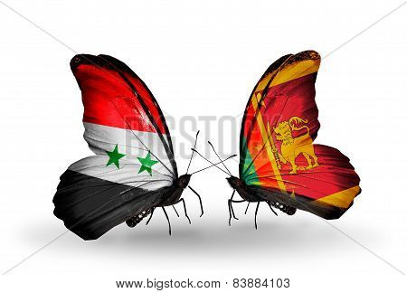 Two Butterflies With Flags On Wings As Symbol Of Relations Syria And Sri Lanka