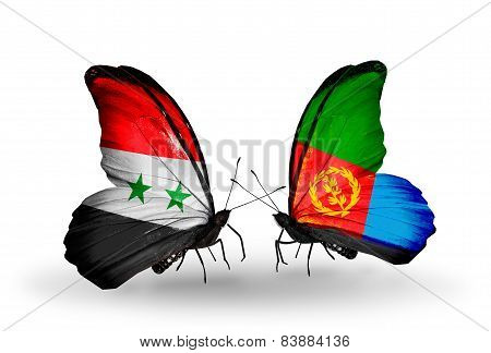 Two Butterflies With Flags On Wings As Symbol Of Relations Syria And Eritrea