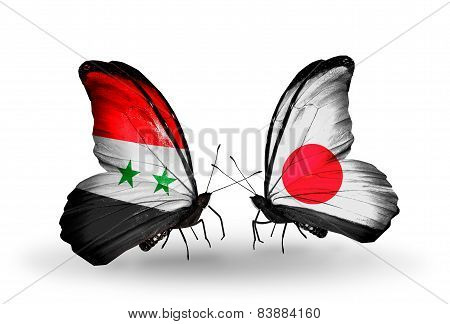 Two Butterflies With Flags On Wings As Symbol Of Relations Syria And  Japan