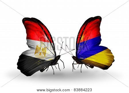 Two Butterflies With Flags On Wings As Symbol Of Relations Egypt And Armenia