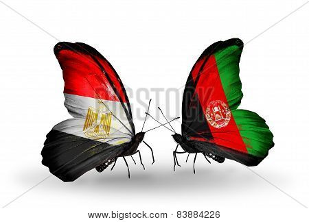 Two Butterflies With Flags On Wings As Symbol Of Relations Egypt And Afghanistan