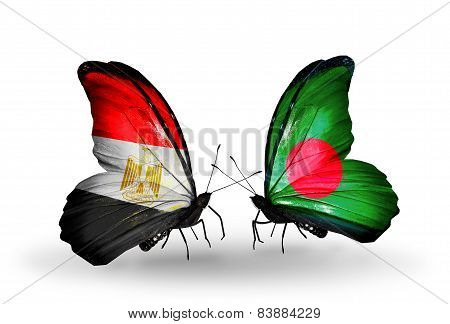 Two Butterflies With Flags On Wings As Symbol Of Relations Egypt And Bangladesh