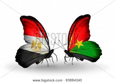 Two Butterflies With Flags On Wings As Symbol Of Relations Egypt And Burkina Faso