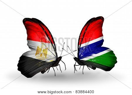 Two Butterflies With Flags On Wings As Symbol Of Relations Egypt And Gambia