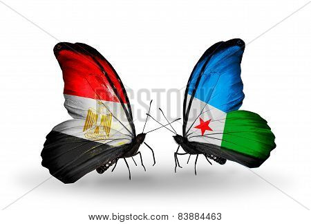 Two Butterflies With Flags On Wings As Symbol Of Relations Egypt And Djibouti