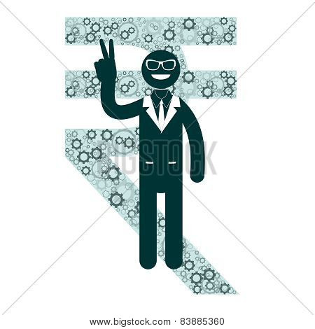 Businessman showing victory sign on a background of rupee, rupiah signs.