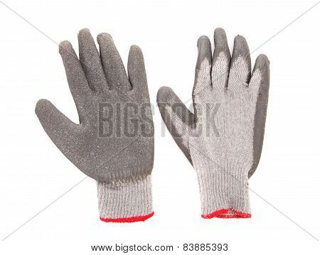 Gray rubber protective gloves