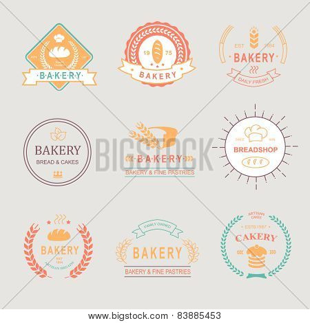 Vintage Retro Bakery Badges,Labels, logos . Bread, loaf, wheat ear, cake icons.