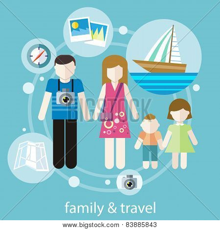Happy family trip traveling