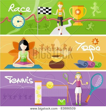 Race, yoga and tennis concept