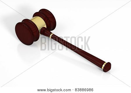 Wooden judge gavel and soundboard.