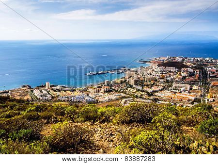 Los Cristianos And Las Americas, View From Guaza Mountain