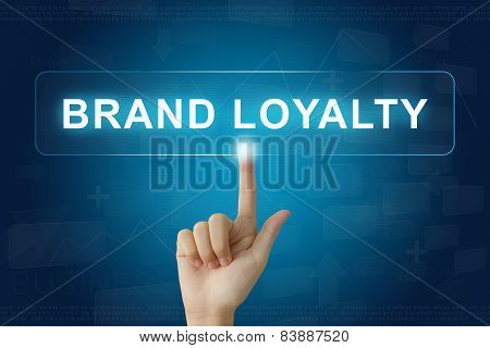 Hand Press On Brand Loyalty Button On Touch Screen