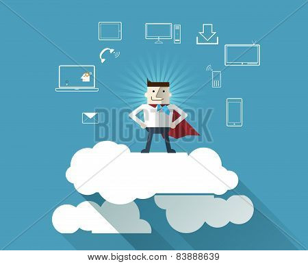 Cloud Computing Concept Background With Superhero-businessman