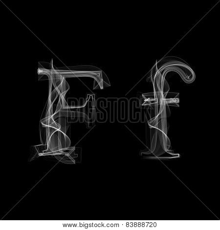 Smoke font. Letter F
