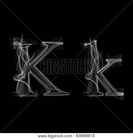 Smoke font. Letter K