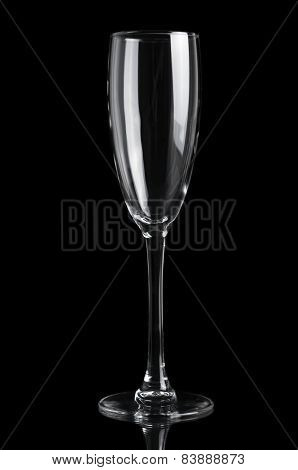 Champagne empty glass isolated on black background