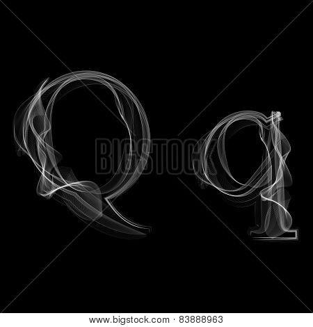 Smoke font. Letter Q