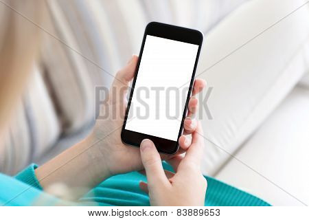 Girl Sitting And Holding A Phone With Isolated Screen