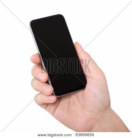 Isolated Man Hand Holding A Black Phone